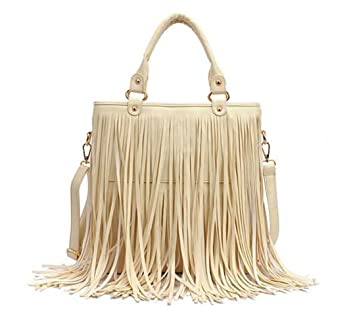 Amazon.com   ANKKO Women Fashion Tassel Fringe Faux Leather Handbag  Shoulder Bag Hobo Tote Bag (beige)   Baby 281ae39e93882