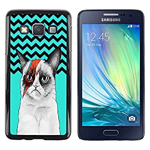 - Chevron Grumpy Cat - - Hard Plastic Protective Aluminum Back Case Skin Cover FOR Samsung Galaxy A3 a3000 Queen Pattern
