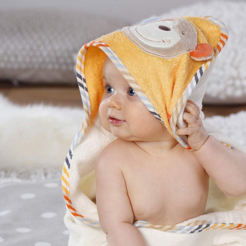 80x80cm Bade-Poncho aus Baumwolle mit Affen Motiv f/ür Babys und Kleinkinder ab 0 Monaten Fehn 081466 Kapuzenbadetuch Affe Ma/ße