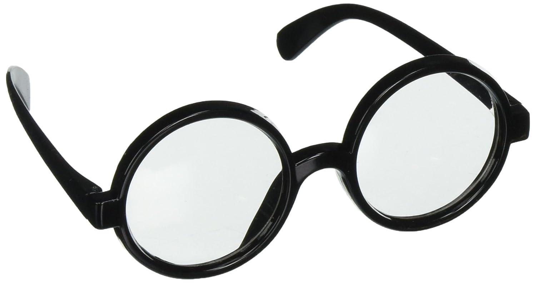 Star Power Men Wizard Quality Round Frame Glasses, Black, One Size (2in Lenses) Loftus International GP-0196