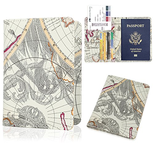 GDTK Leather Passport Holder Cover Case RFID Blocking Travel Wallet (Map R)