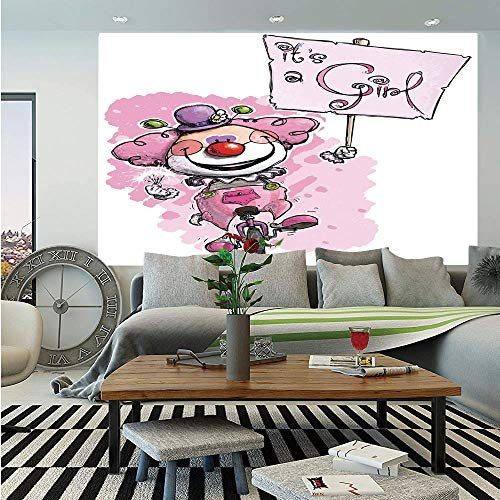 Gender Reveal Decorations Removable Wall Mural,Artistic Clown on Unicycle Holding Its a Girl Plackard,Self-Adhesive Large Wallpaper for Home Decor 66x96 inches,Baby Pink Red Green