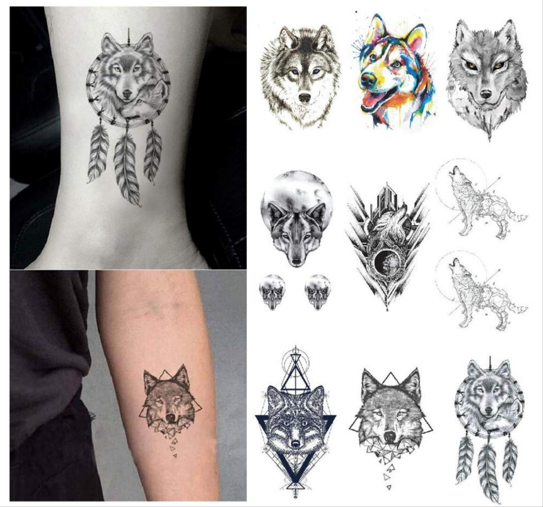 yyyDL 3D Wolf Tattoo Stickers impermeable temporal falso tatuaje ...
