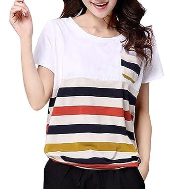 Tendencias de Moda Blusa Casual Talla Grande Camiseta Manga Corta ...