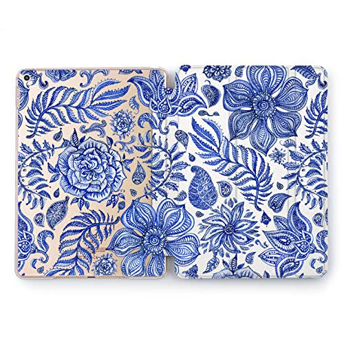 Wonder Wild Gzhel Flowers Apple iPad Pro Case 9.7 11 inch Mini 1 2 3 4 Air 2 10.5 12.9 2018 2017 Design 5th 6th Gen Clear Smart Hard Cover Painting Style Floral Ornament Paintbrush Masterpiece Art
