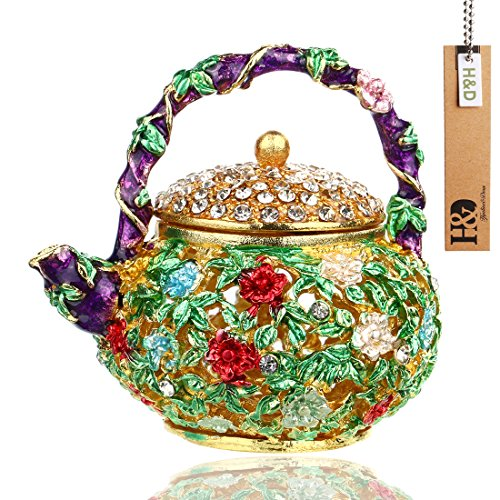 YUFENG Mini Teapot Trinket Box Hinged For Girls Ring Holder Handmade Ring Holder Dish Decorated (teapot)