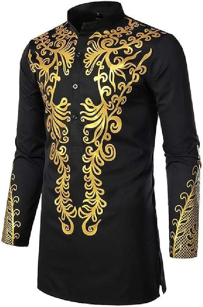 HEFASDM Mens Printing Mid Long Folk Style Oversized Classic Woven Shirt
