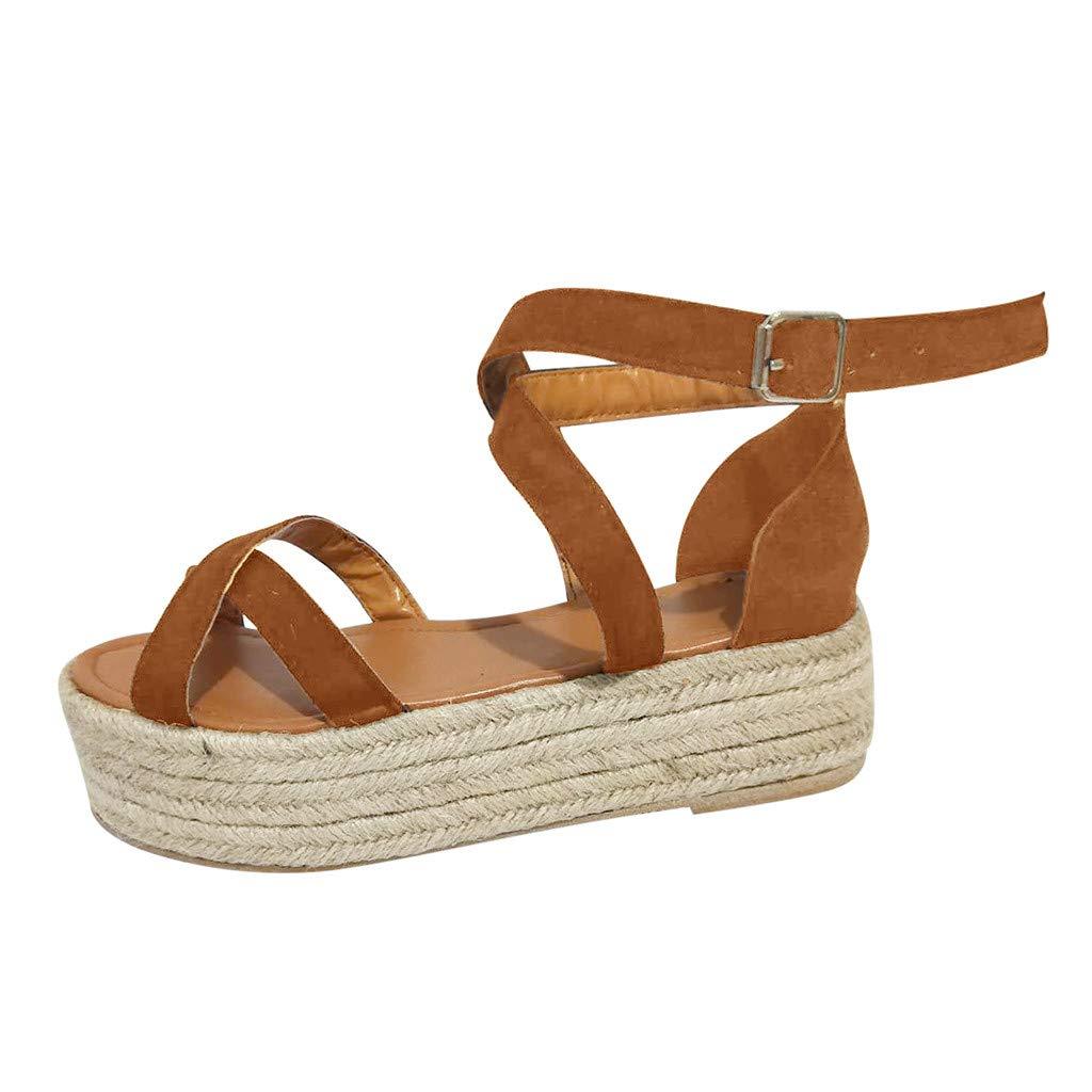 Womens Espadrilles Platform Sandals - Peep Toe Pumps Straw Thick Bottom Cross Ankle Buckle Strap Roman Sandals (Brown, 9 M US)