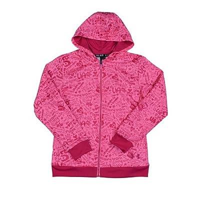 Under Armour Girls' UA Logo Full Zip Graphic Hoody-Pink-Medium