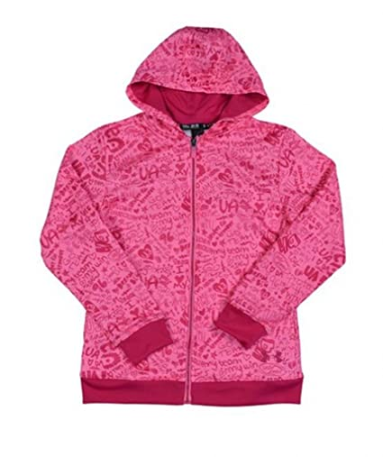 afb29f68 Under Armour Girls' UA Logo Full Zip Graphic Hoody-Pink-Large