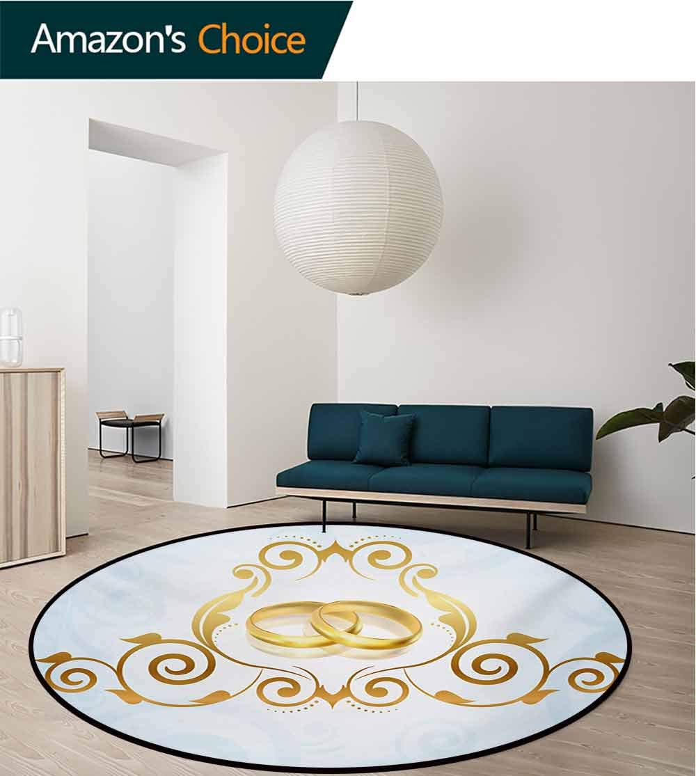 RUGSMAT Wedding Small Round Rug Carpet,Vintage Style Victorian Ornaments On Blue Backdrop Rings Classical Celebration Door Mat Indoors Bathroom Mats Non Slip,Diameter-51 Inch Pale Blue Gold