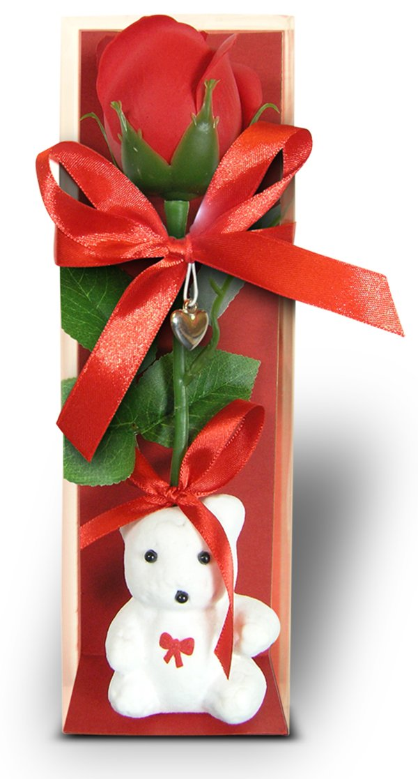 BANBERRY DESIGNS Red Rose and Teddy Bear Gift - Long Stem Artificial Rose in Box with White Teddy Bear Animal - Mother's Day Flowers