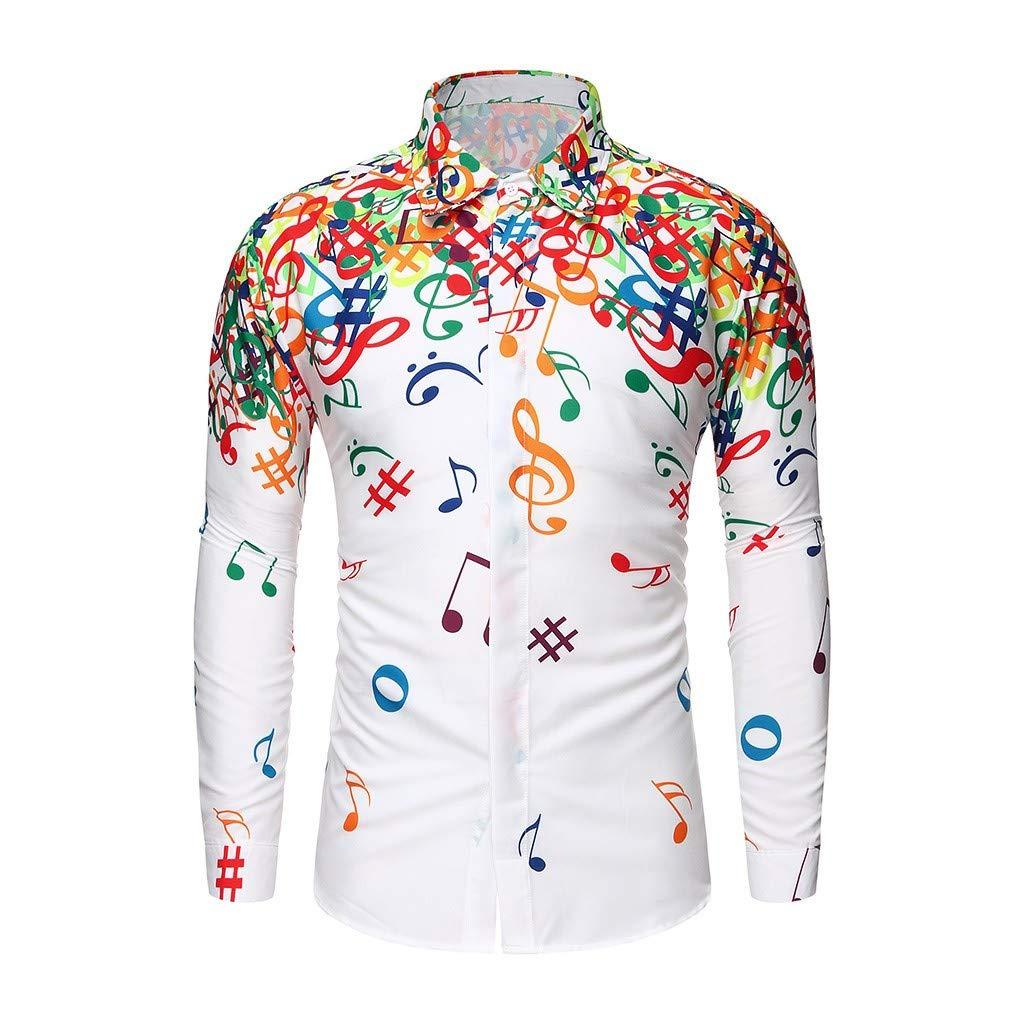 ღLILICATღ Polo de Hombre Camisas de Novedad Nota Musical Imprimir de la Moda del Hombre Tops Camisetas de Manga Larga Casual Tops para Hombre Camisas de Cl/ásico de la Moda Manga Larga de Hombre