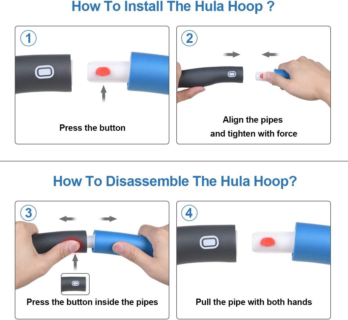 flintronic Hula Hoop Fitness, 8 Secciones Hula Hoop Desmontable con Espum, Ancho Ajustable (19-35in), Cinta Métrica Azul + Toalla Azul Incluida, Azul