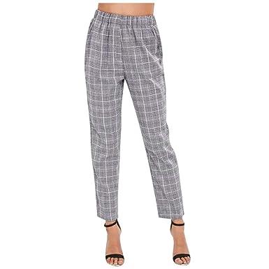 la mejor actitud 5e82d 4cb8d ❤️ Pantalones Mujer Slim fit,Pantalones de Cintura elástica para Mujer  Pantalones de Cuadros de un Solo Pecho con Volantes Absolute