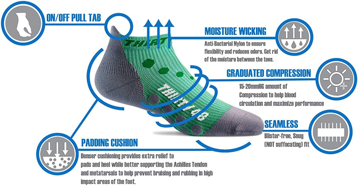 Thirty48 Compression Low Cut Running Socks for Men and Women | 15-20mmHg Compression