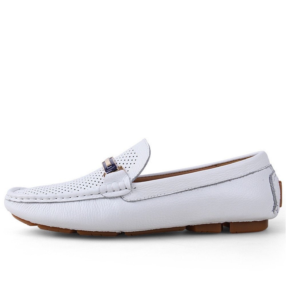 Hollow White GBY Men's Driving Loafers Solid color Penny Boat shoes Rubber Sole Casual Moccasins Dress shoes Men's Leather shoes