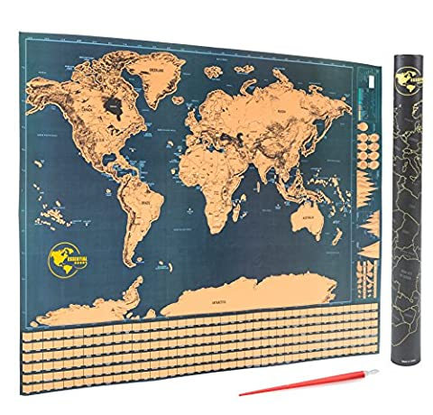 Scratch Off World Map - Detailed Scratchable Travel Tracker Poster with US States and Country Flags - Includes FREE Scratcher Pen Tool - Perfect Gift Item for Holidays & Adventures (32 in. x 24 (Strong Black Woman Murals)