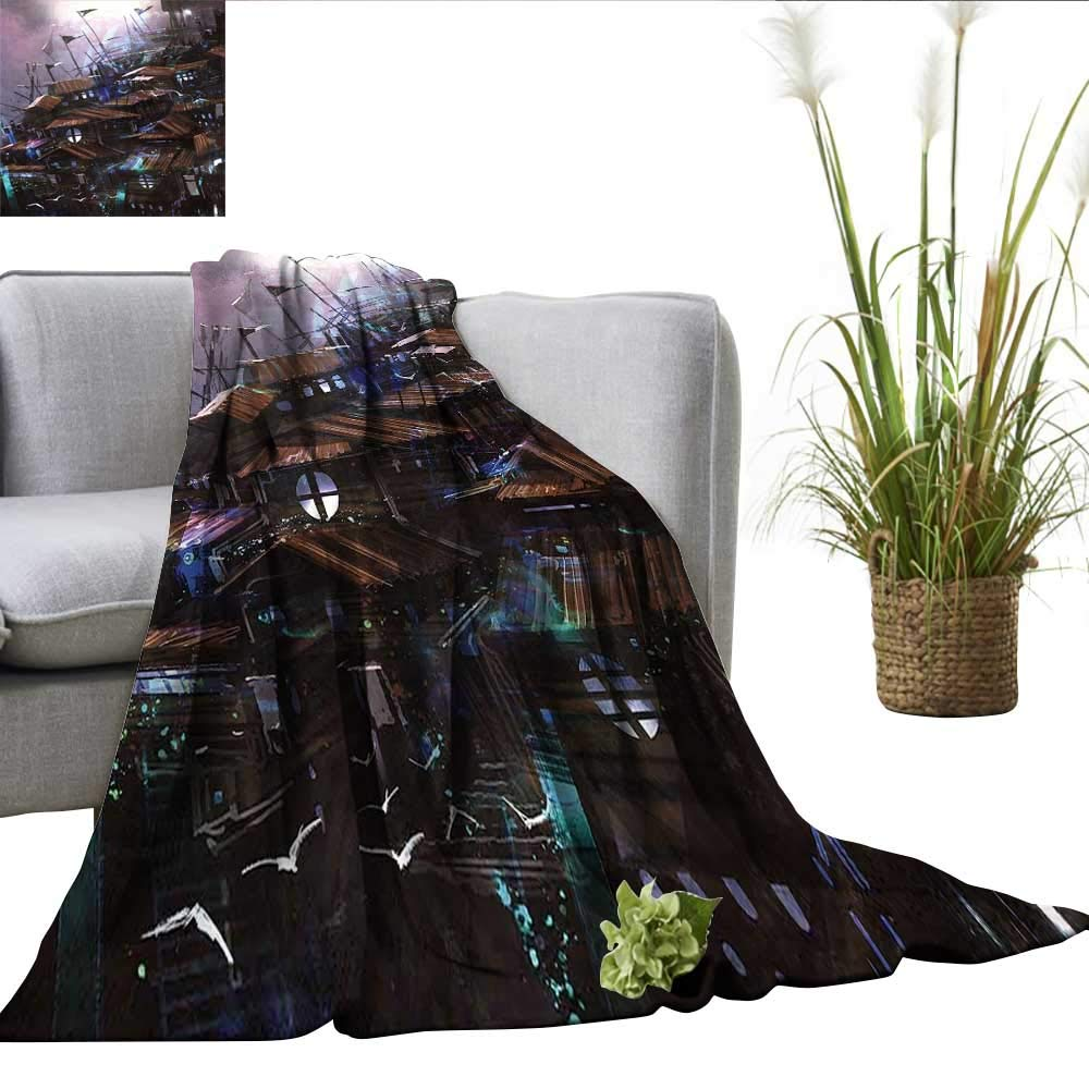 color07 W50 xL70  ScottDecor Fantasy Digital Printing Blanket Fairy Pixie Girl Madam Butterfly with Curved Flower Cute Girls Surreal Print Mini Couch Pale Pink Maroon W60 xL62