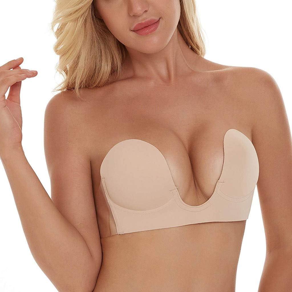 Igemy Invisible Bra Women Wire Free Sticky Bra Strapless Backless Bra Self Adhesive Bra Push up Bra