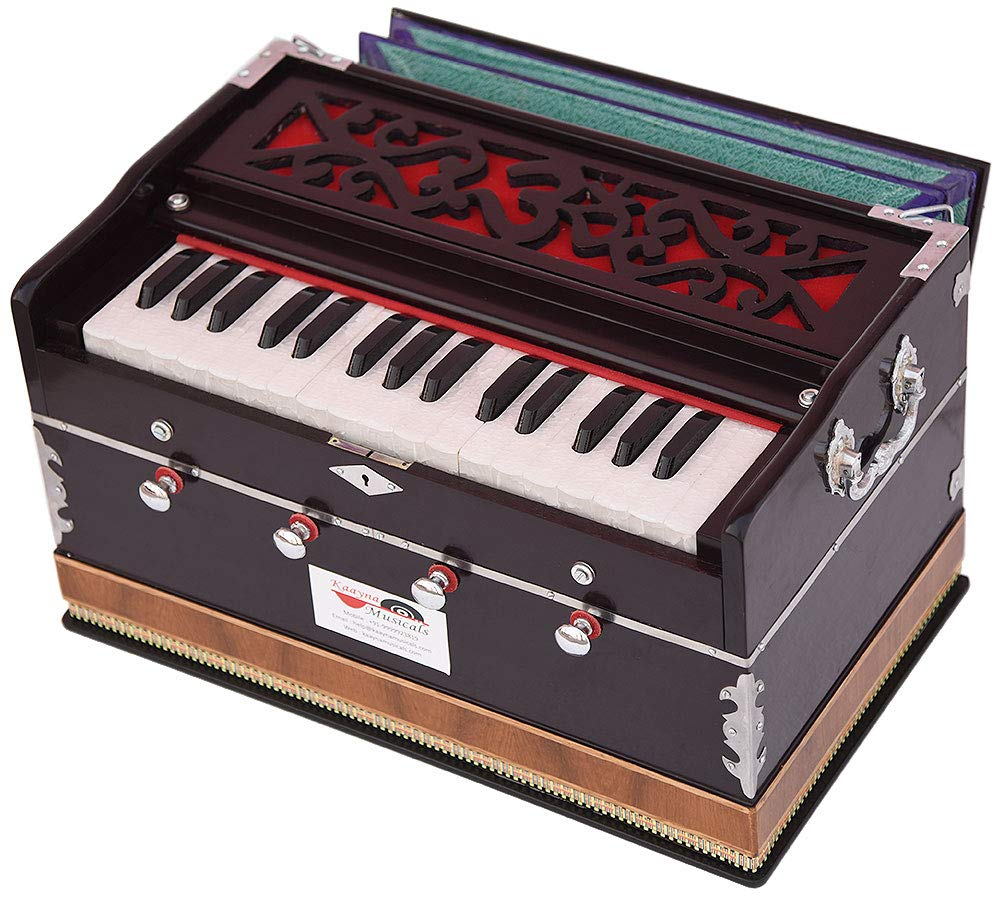 OM Harmonium Mini Magic By Kaayna Musicals, 4 Stop- 2 Main & 2 Drone, 2¾ Octave, Dark Cherry Colour, Gig Bag, Bass/Male- 440 Hz, Best for Yoga, Bhajan, Kirtan, Shruti, Mantra, Meditation, Chant, etc. by Kaayna Musicals (Image #7)