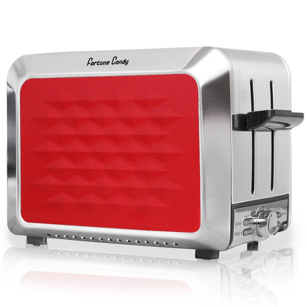 Fortune Candy Stainless Steel 2-Slice Bagel Toaster, Wide Extra Slot, Red Toaster 2 Slice