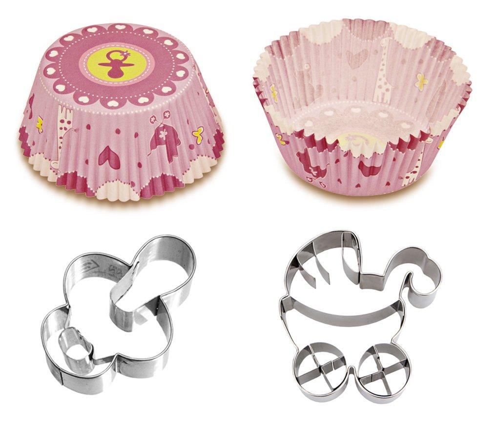 Caleidolex Back Set Baby Shower Niño - Nacimiento de niña - 50 Unidades Moldes para Magdalenas con 2 moldes Formas Cochecito - Chupete - Cortador de ...