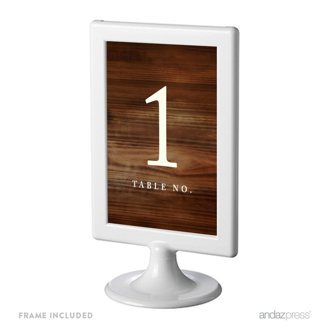 Andaz Press Framed Double-Sided Table Numbers 1-8, Rustic Wood Print, 1-Set, 4x6-inch, Includes Frames