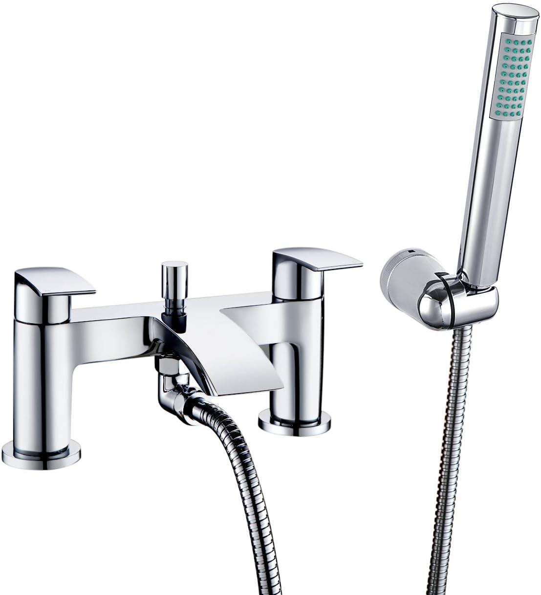 [Bath Shower Tap] Hapilife Bathroom Watefall Double Handle Mixer Monobloc Tap with Handheld Shower Head Chrome