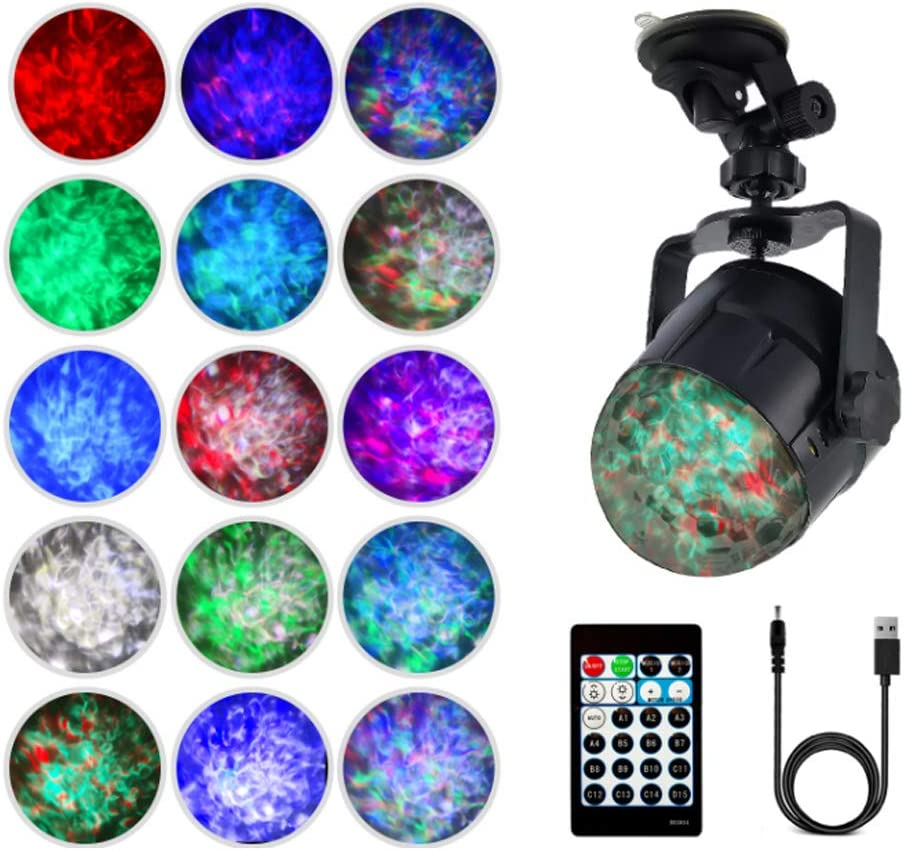 Ocean Wave Projector Room Night Lights,Remote Control 15 Modes with Music Speaker Sensor Light Show LED Party Night Light for Kids Bedroom Adult Living Room (Multi-Colored-B)