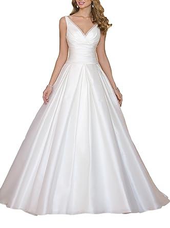 Amazon.com: Ruolai V Neck Wedding Dress Simple A Line Ruched Satin ...