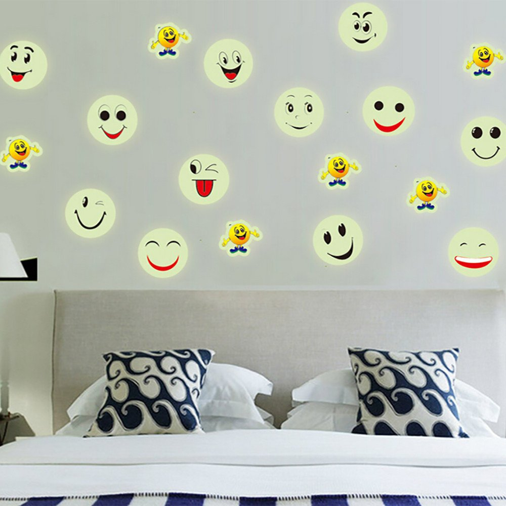 Wall Stickers,Glow In The Dark Luminous Fluorescent PVC Wall Decal Emoji Smiley Face for Kids Rooms Bedroom Bathroom Living Room Kitchen- by Yeefant