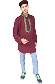 Lakkar Haveli Mens Indian Tunic Henley Shirt Kurta Solid Blue Color 100/% Cotton Big Tall