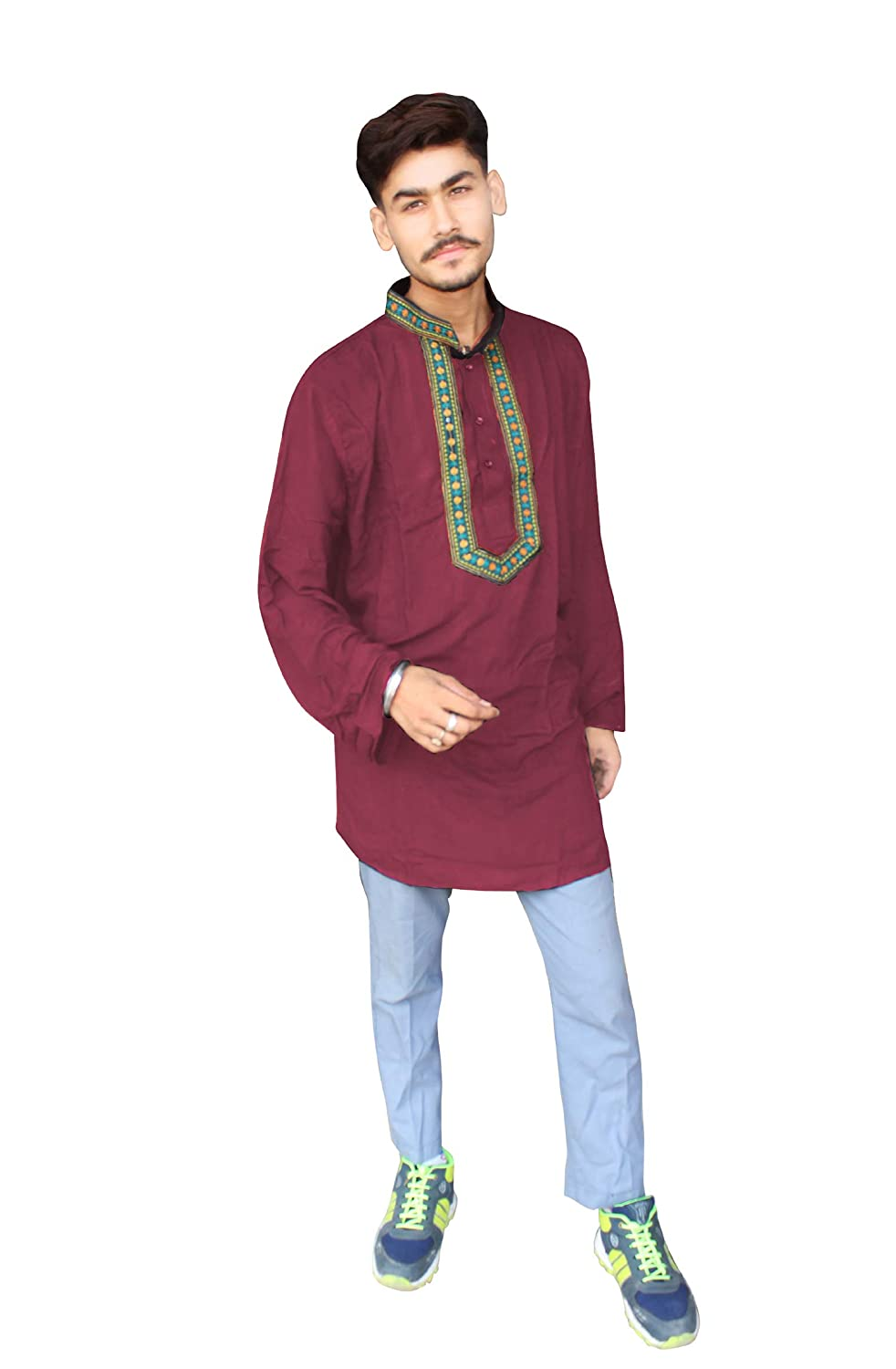 Lakkar Haveli Embroidered Mens Kurta Casual Loose Fit Tunic Ethnic Dark Pink Shirt Bohemian Plus Size