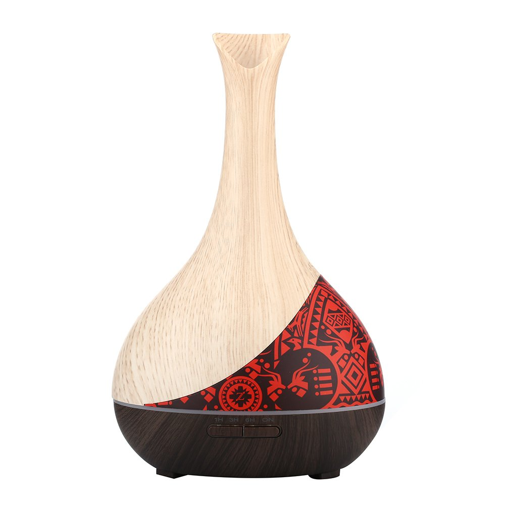 Canadian First-Nation Design Decorative Piece 300 ML Essential Oil Diffuser Humidifier. Air Purifier With Fresh Fragrance. Made with Durable Wood Grain for Quiet Soothing Aromatherapy by ZCANADA.