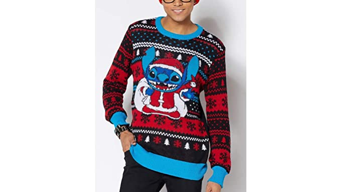 90s Christmas Sweaters.Amazon Com Disney Lilo Stitch Ugly Christmas Sweater For