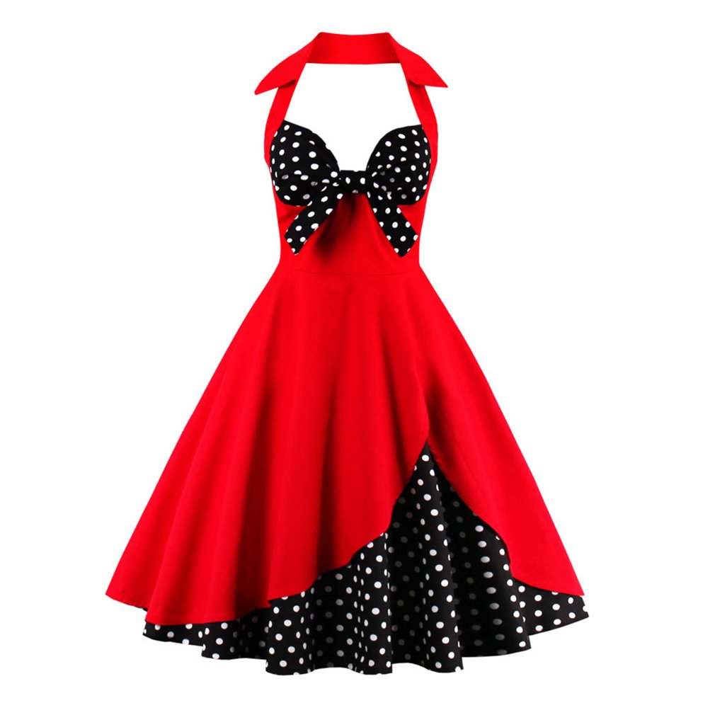 Olddnew Vintage Halter Cocktail Dress 1950s Retro Rockabilly Swing Homecoming Summer Dresses (2XL, Red Polka Dot)