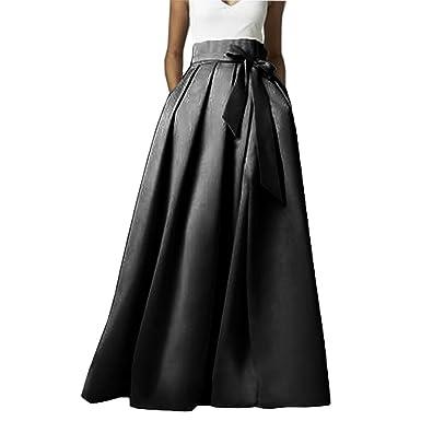 8e2db4e68101 Omelas Womens Long Floor Length Pleated Skirt High Waisted Maxi A-line Party  Evening Dress