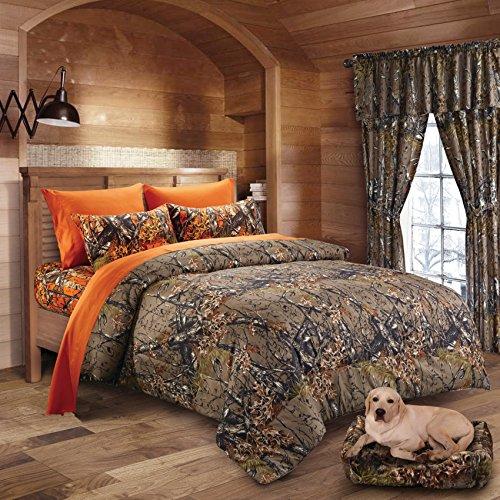 Hunter Camo Comforter, Sheet, & Pillowcase Set Brown & Orange (Cal King, Brown / Orange)