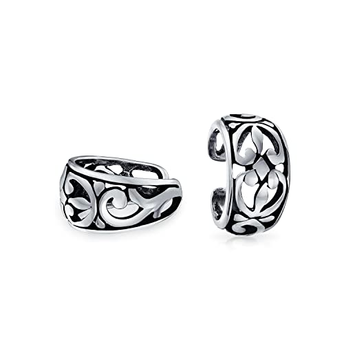 ce6d508f8de Cutout Filigree Flower Leaves Band Cartilage Ear Cuffs Clip Wrap Helix  Earrings Non Pierced Ear 925 Sterling Silver