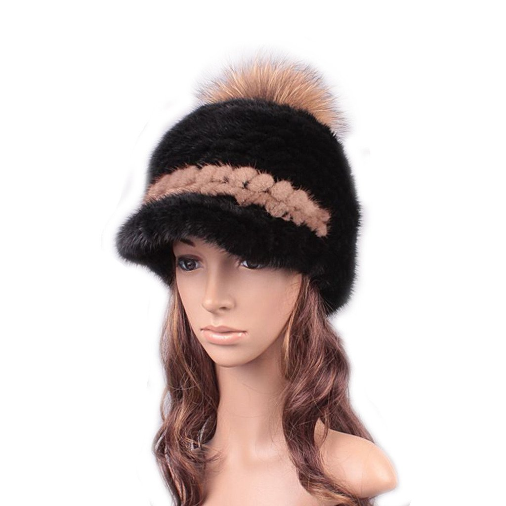 UK.GREIFF Women's Fashion Warm Stretch Mink Fur Newsboy Caps Winter Hat Brown