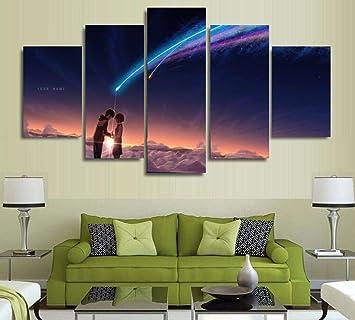 Amazon.com: 5 Panels Wall Art Your Name (Kimi no Na wa ...