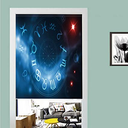 Bathroom Products Decorative Shower Curtain Astrology Horoscope Circle Signs Virgo Scorpio Sagittarius With Abstract Backdrop Blue White And Red