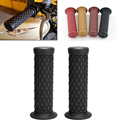 "Motorcycle Non Slip Retro Rubber Handlebar Comfortable Handlebar 7/8"" 22mm 1""24mm Rubber Handle Grips (Black): Automotive"