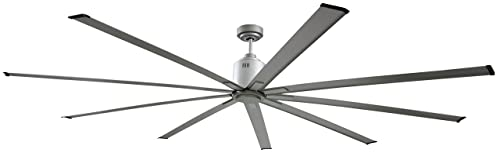 Big Air 96 Industrial Indoor Outdoor Ceiling Fan, White Silver