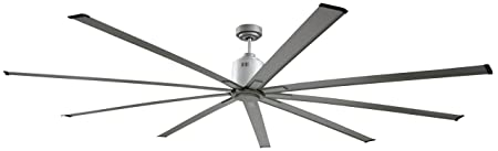 Big Air 96 Inch Industrial Ceiling Fan Indoor Outdoor 6 Speed w Remote, 14000 CFM, Reversible For Commercial or Residential Use 96 Silver