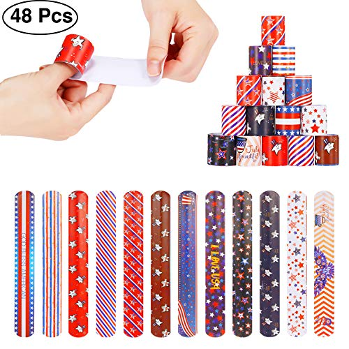 48pcs Slap Bracelets Party Favors 12 Different Designs with Patriotic USA Flag Stars Slap Bands ()