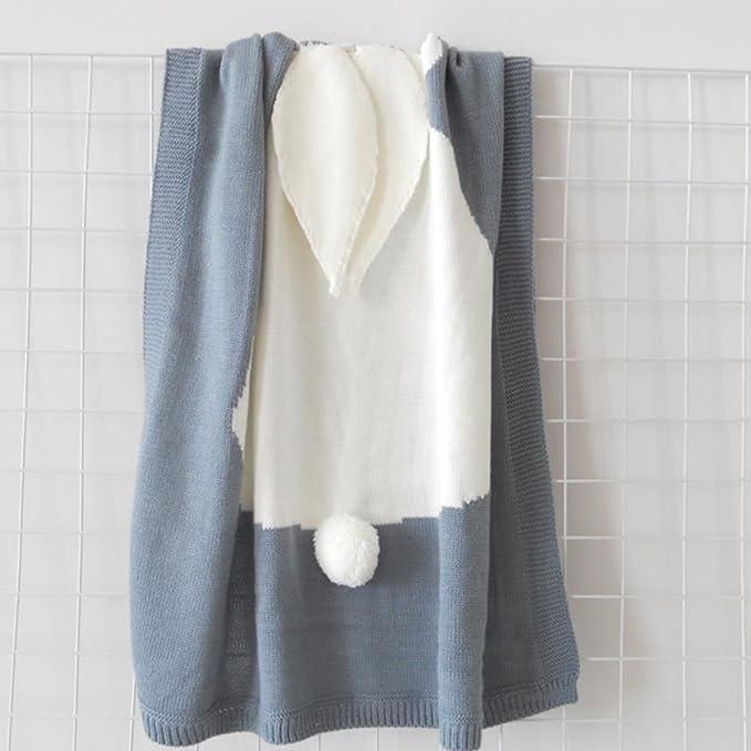 Fyore 3d conejo bebé manta Ultra suave orgánico comodidad de dormir patrón para tejer cálido hoja para niños recién nacido, Blue Grey, 108*73cm: Amazon.es: ...