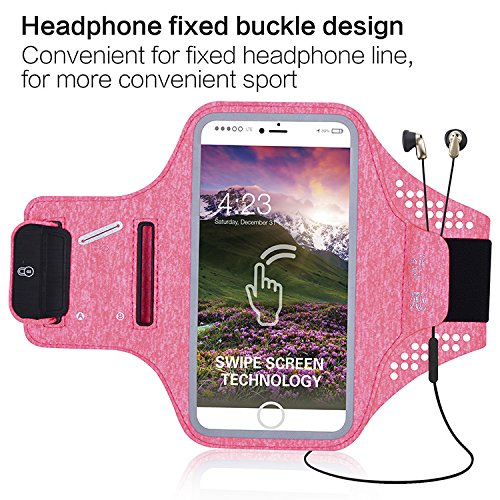 Water Resistant Sports Armband for Cell Phones like Apple iPhone 6, 7, 8 and other Smartphones up to 4.7 inch, Fingerprint ID Access, Key Holder, Swipe Touchscreen Technology, Running Excercise (Pink) by Husky