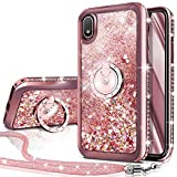 Galaxy A10 Case,Galaxy M10 Case, Silverback Moving Liquid Holographic Sparkle Glitter Case with Kickstand, Bling Bumper with Ring Stand Slim Samsung Galaxy A10 Case for Girls Women -Rose Gold